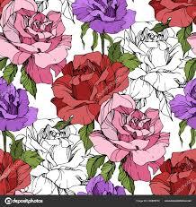 Paarse Roze Rode Rozen Gegraveerde Inkt Art Naadloze