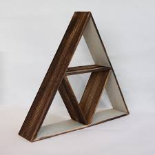 wooden geometric triangle shelf
