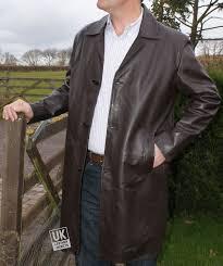 men s 3 4 length brown leather coat saint cow hide