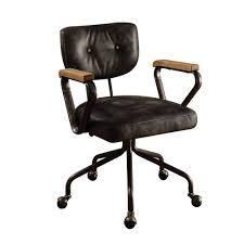 acme furniture hallie vintage black top grain leather office chair