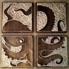 String Art 4 Panel Octopus Nail And String Art Original Design Octopus