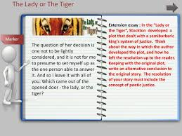 "ppt the lady or the tiger powerpoint presentation id  extension essay in the ""lady or the tiger"" stockton developed"