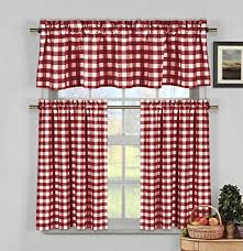 Red Checkered Kitchen Curtains