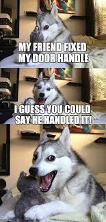bad pun dog meme my friend fixed my door handle i guess you could say