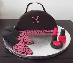 handbag cake with edible fondant shoes and fondant makeup on cake central