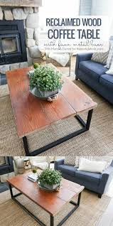 how to build a reclaimed wood coffee table with a faux metal base beginner