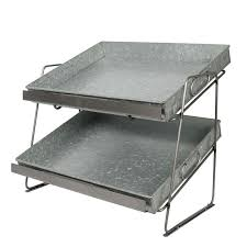 two tier countertop display unit 2 large metal trays