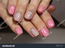 Light Pink Nails With Rhinestones Beautiful Light Pink Nails Rhinestones Manicure Stock Photo