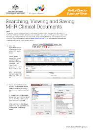Medical Director Summary Sheet – Searching, Viewing and Saving MHR Clinical  Documents