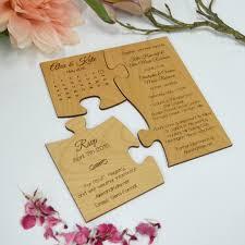 honey brown wooden puzzle wedding invitation