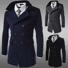 fashion 2016 brand winter long trench coat men