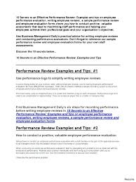 Employee Performance Review Examples Appraisal Template