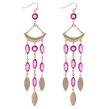 pink crystal chandelier statement earring