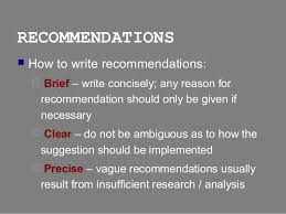 report writing conclusions recommendations sections  workable 14 recommendations  how to write