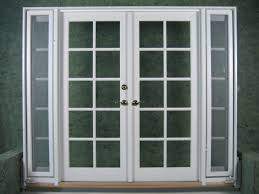wood french doors exterior with outswing side windows painted with white color and gl insert plus metal handle ideas