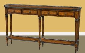 narrow console table. Thedore Alexander Console Table. Acanthus Leaf Brass Leg Collars Narrow Table