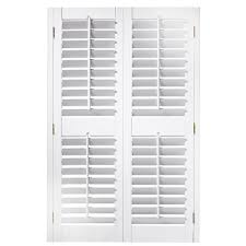 Make Your Own Shutters White Shutters 3537 In X 54 In Plantation Faux Wood Interior