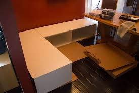 Diy office desk ikea kitchen Awesome Diy Kitchen Banquette Bench Using Ikea Cabinets Hacks How To Build Your Two Sisters Crafting Build Your Own Kitchen Cabinets Ikea Kitchen Appliances Tips And