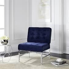 safavieh modern ansel blue velvet tufted accent chair by safavieh