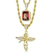 details about mens necklaces gold hip hop rope chain for angel ruby pendant praying hand 24