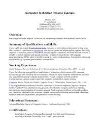 Brilliant Ideas of Computer Technician Resume Sample For Your Summary Sample