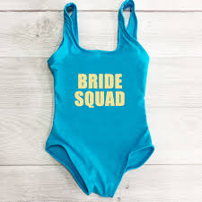 Kids <b>One Piece Swimsuit New</b> Letter BRIDE SQUAD Swimwear ...