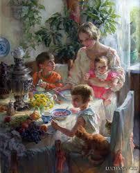 Лучанова Полина жанровая живопись Обсуждение на  2001 2010 Обучалась в Российской Академии живописи ваяния и зодчества И Глазунова дипломная работа За обедом Автопортрет с детьми
