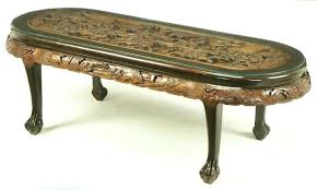 antique chinese coffee table oval coffee table with hand carved battle scene and six stools for