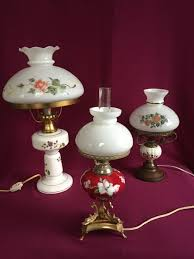 3 electric oil lamps with milk glass lamp shades