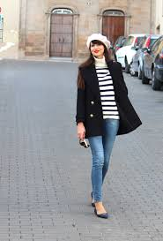 nautical look with a black peacoat
