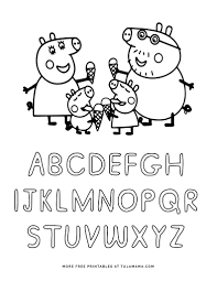 Peppa pig friends with names. Free Printable Peppa Pig Abc Coloring Pages For Preschoolers Tulamama
