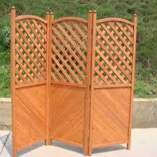patio garden screen three panel wooden half latticed privacy screen trueping