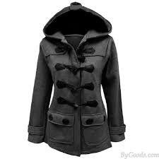 women s fall winter long style horn on wool hooded silm coat trench coat