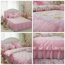 purple and white lace korean princess style bedding sets bohemian girls bed skirt and spread queen