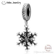 haha jewelry winter snowflake dangle charm with clear cz real s925 silver day gift bead fit pandora charms bracelet making snowflake dangle