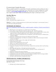 Cover Letter Resume Examples For Cosmetologist Sample Resume For