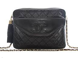 Authentic Chanel vintage Black quilted Lambskin tassle & chain ... & Authentic Chanel vintage Black quilted Lambskin tassle & chain shoulder bag Adamdwight.com
