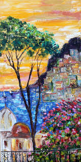 original oil painting italy positano sunset by karen s fine art gallery represented modern impressionism in