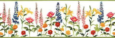 Flower Wall Paper Border Variety Of Flowers Green Available At Wallpaper Borders Discount