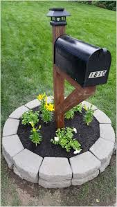 mailbox designs. 6. Classic Black With Paving Stone Planter Mailbox Designs