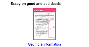 essay on good and bad deeds google docs
