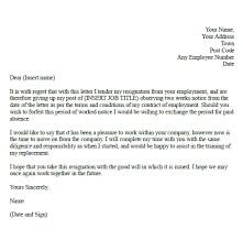 Formal Letter Of Resignation Classy TwoWeek Resignation Letter Samples Formal Resignation Letter