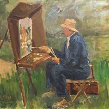 churchill painting on a river