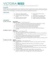 Sample Waitress Resumes 25 Download Example Resume For Waiter Server