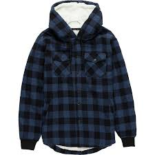 stoic sherpa lined hooded shirt jacket men s blue plaid