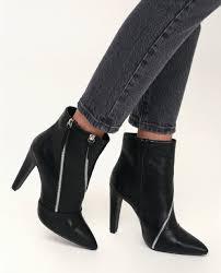 ace black zipper high heel mid calf booties