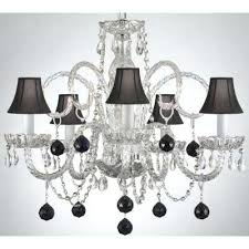 black chandelier with clear crystals empress crystal 5 light clear chandelier with black shades and black