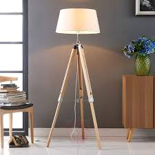 katie floor lamp with three legged wooden stand