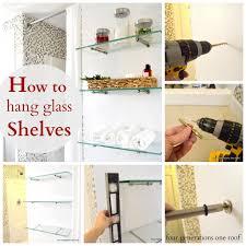 stunning ideas glass shelves home depot brilliant decoration how to hang using bingo brackets four generations