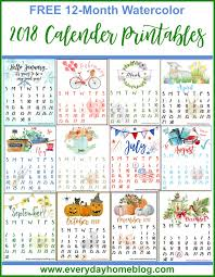 12 month free 2018 12 month calendar printables the everyday home